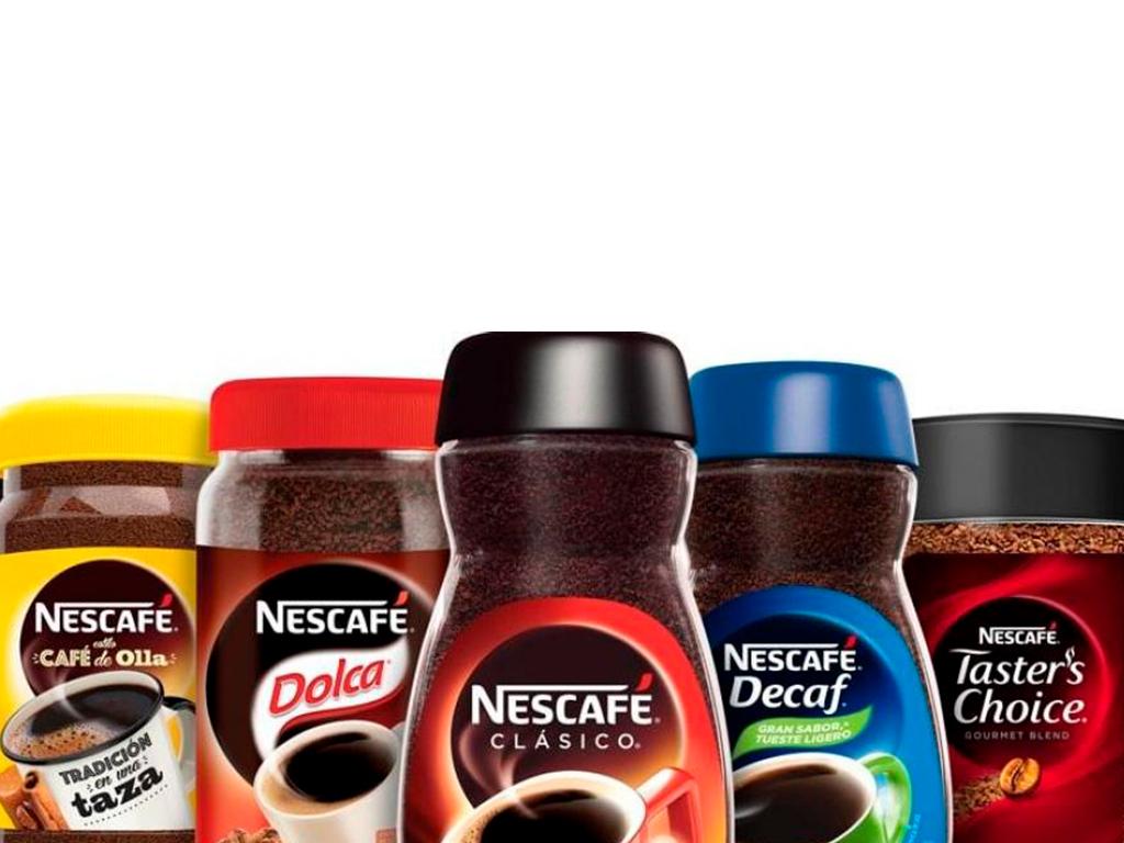 Diversas presentaciones de los productos de Nescafé