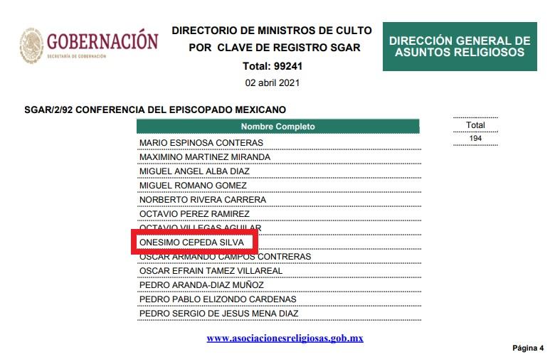 Onésimo Cepeda aún aparece en las listas de ministros de culto en 2021