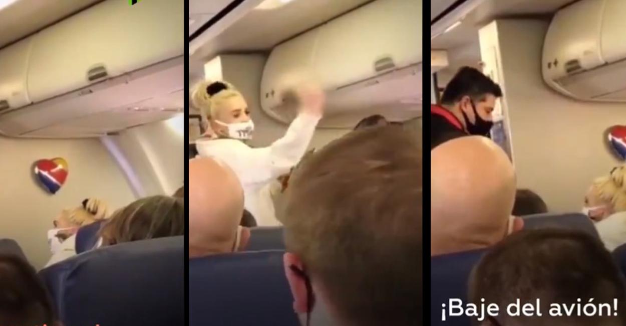 Pasajera de avión es bajada por no llevar cubrebocas || VIDEO