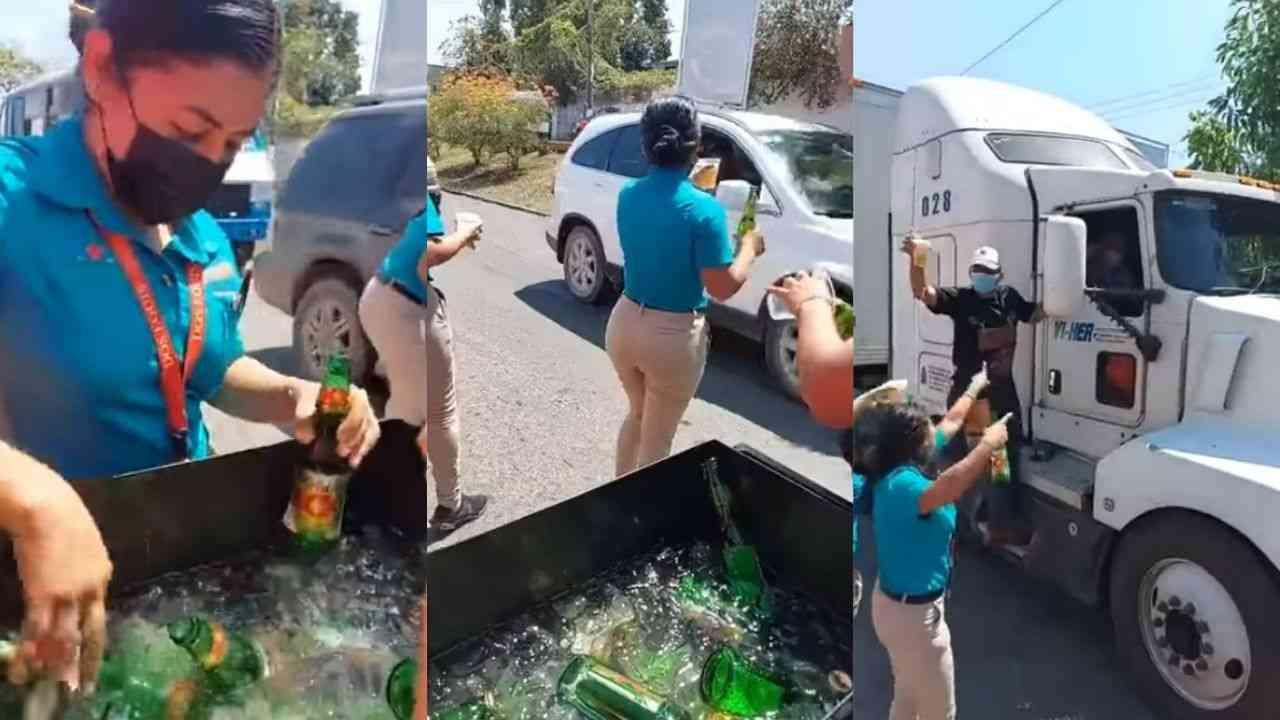 Campaña política regala cervezas en la calle a los automovilistas en Tabasco