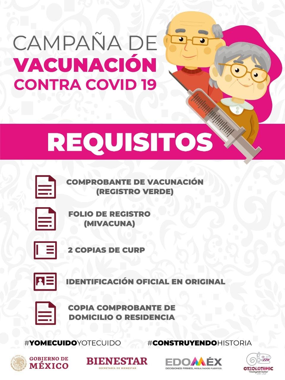 Los requisitos que estaran solicitando para poder vacunar