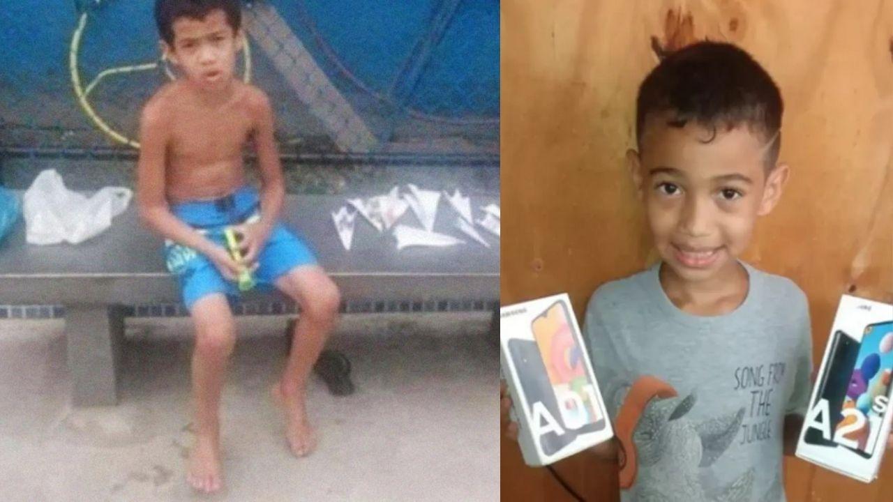 Niño de Brasil vende aviones de papel para poder comprarse un celular