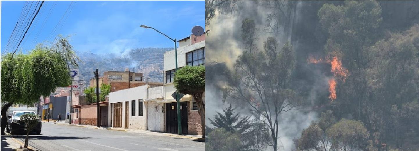 Incendio invade al gran cerro de la Teresona en Toluca