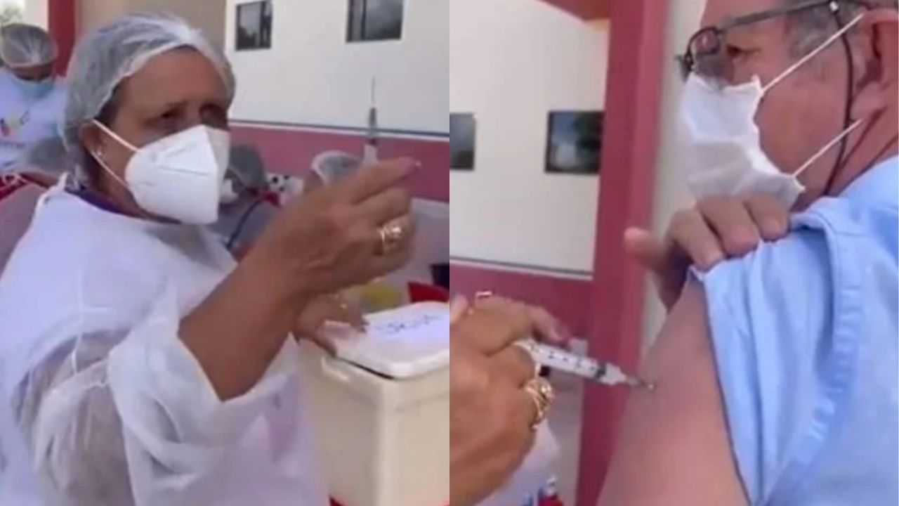 Circula un video donde se observa a una enfermera de Brasil que asegura reutiliza la misma jeringa hasta diez veces