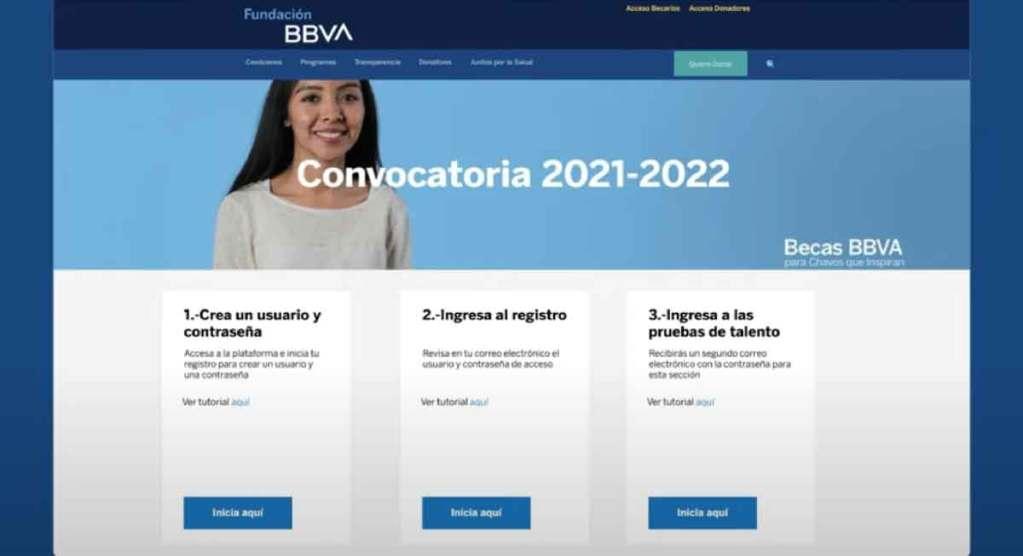 Tres pasos del registro para la convocatoria becas BBVA 2021 Educación básica