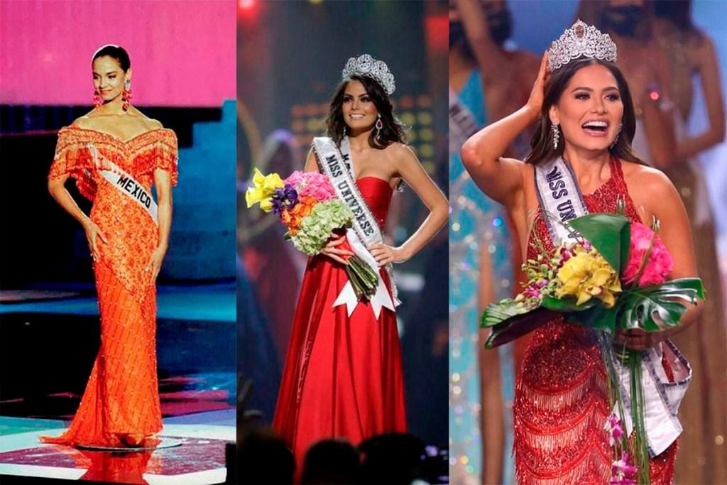 las tres reinas debelleza de mexico han llevado vestido rojo en miss universo