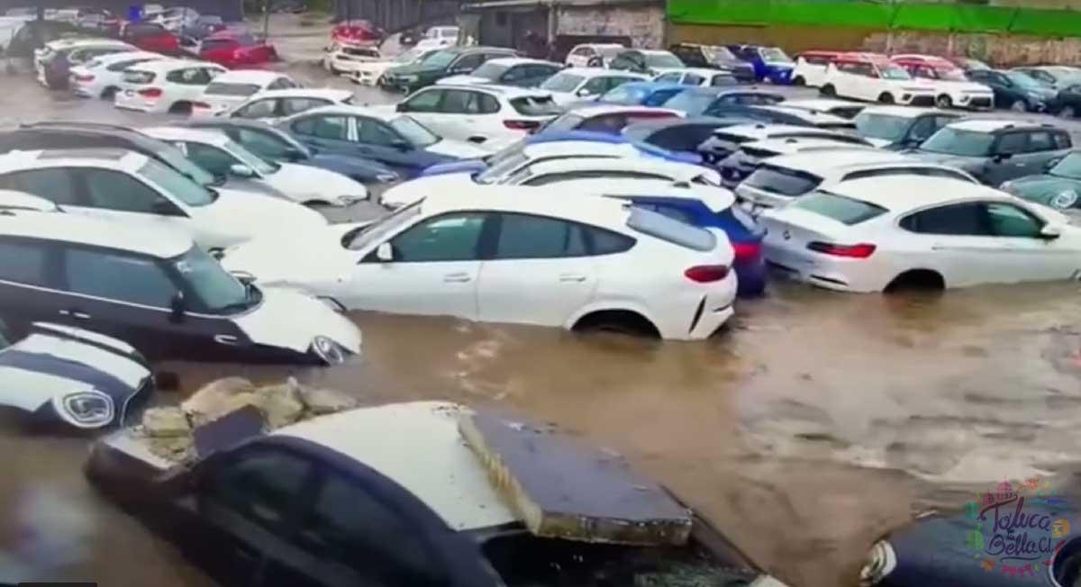 Metepec noticias: Comparten video del momento en que se inundan autos de lujo