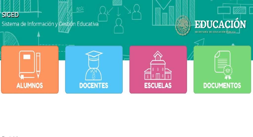 en el portal del SIGED para consultar y descargar las boletas de calificaciones de las y los alumnos de preescolar, primaria y secundaria tendrá que ser a traves del sistema de información y gestión educativa, además cuenta con apartado de docuemntos, escuelas, docentes y alumnos