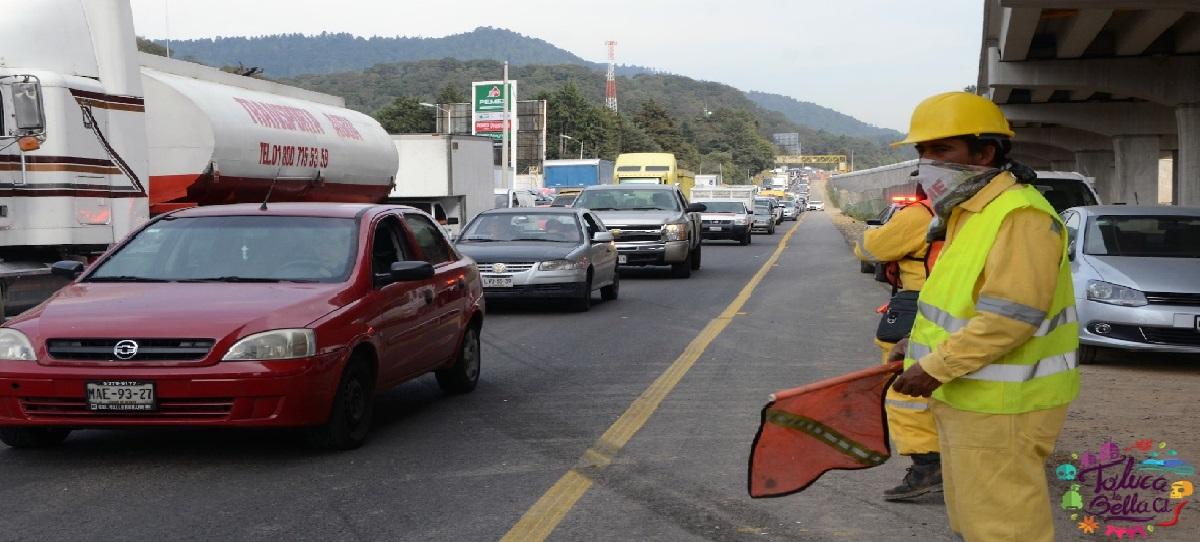 cerrarán carriles de la México-Toluca