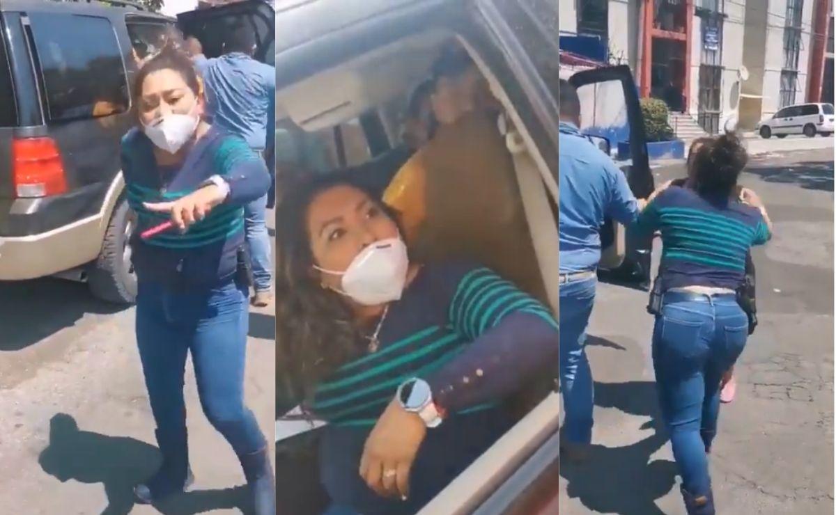 En un video se observa a una supuesta policía ministerial que detiene a un hombre sin aparente causa, por lo que fue apodada como Lady Pistola.