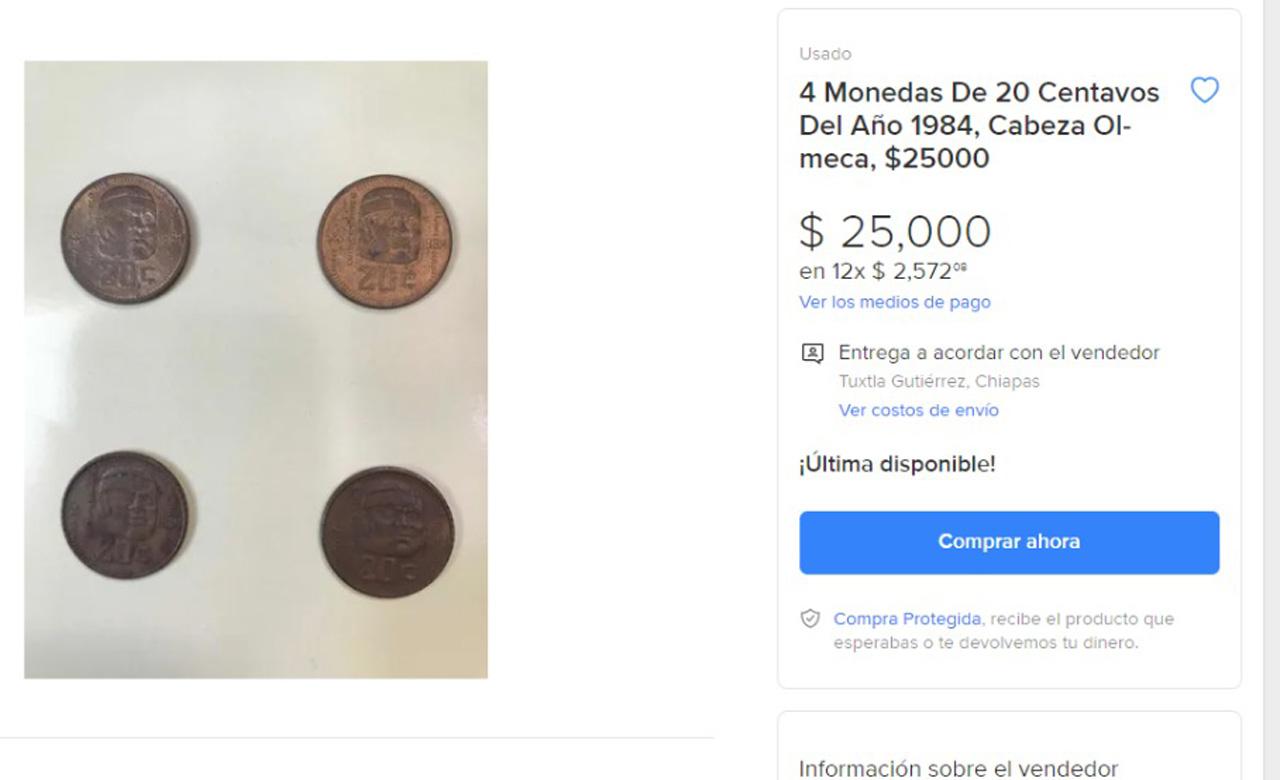 Monedas antiguas de 20 centavos valoradas hasta en 50 mil pesos