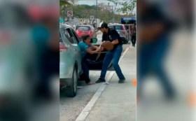 Denuncian en redes sociales a Olof Gallegos, militante d eMorena por golpear y agredir a una mujer en calles de Tulum