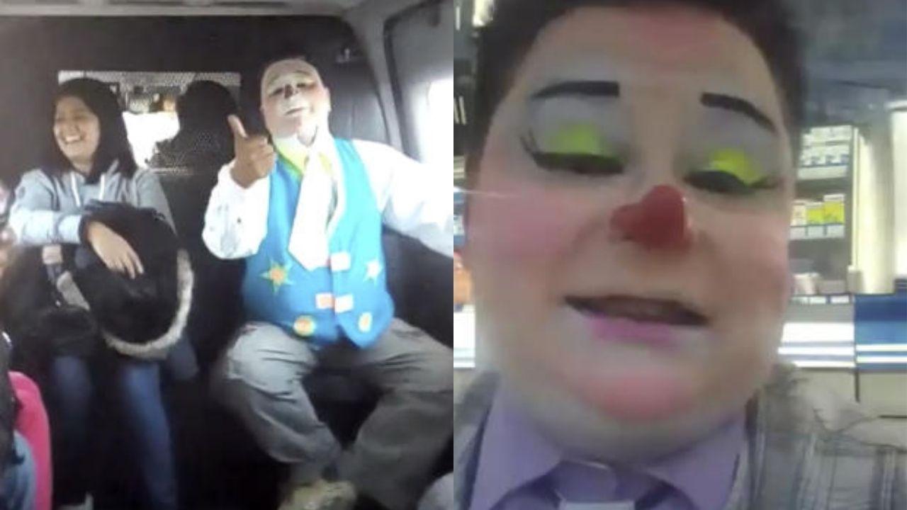 Un payaso en una combi del Edomex se hizo viral en redes por contar chistes de los asaltos que se viven a bordo del transporte público
