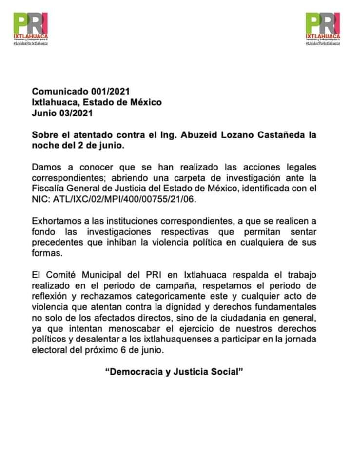 Comunicado de prensa del PRI Ixtlahuaca sobre el atentado al candidato Abuzeid Lozano