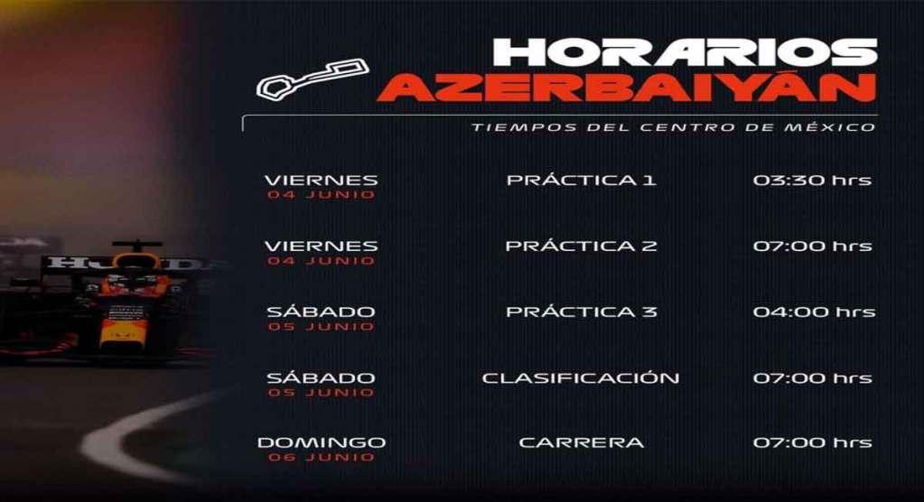Horarios en México de la formula 1 del Gran Premio de Azerbaiyán 2021