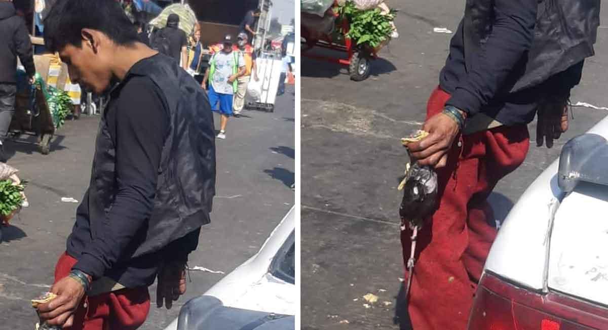 Joven es captado comiendo un taco de rata en Central de Abastos CDMX