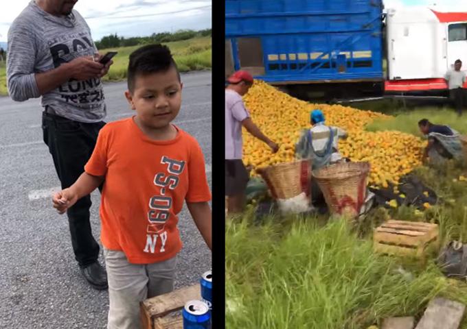 Niño en Tamaulipas compra naranjas, en ves de robarlas