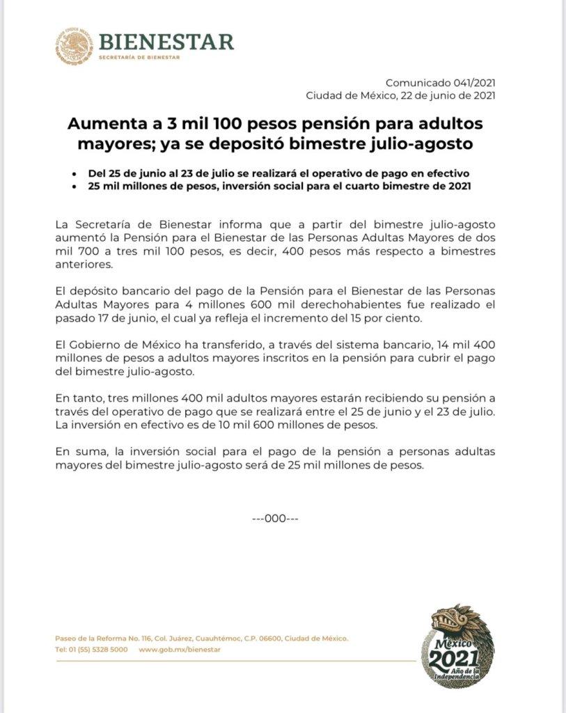 incremento a pensión para adultos mayores a 3100 pesos