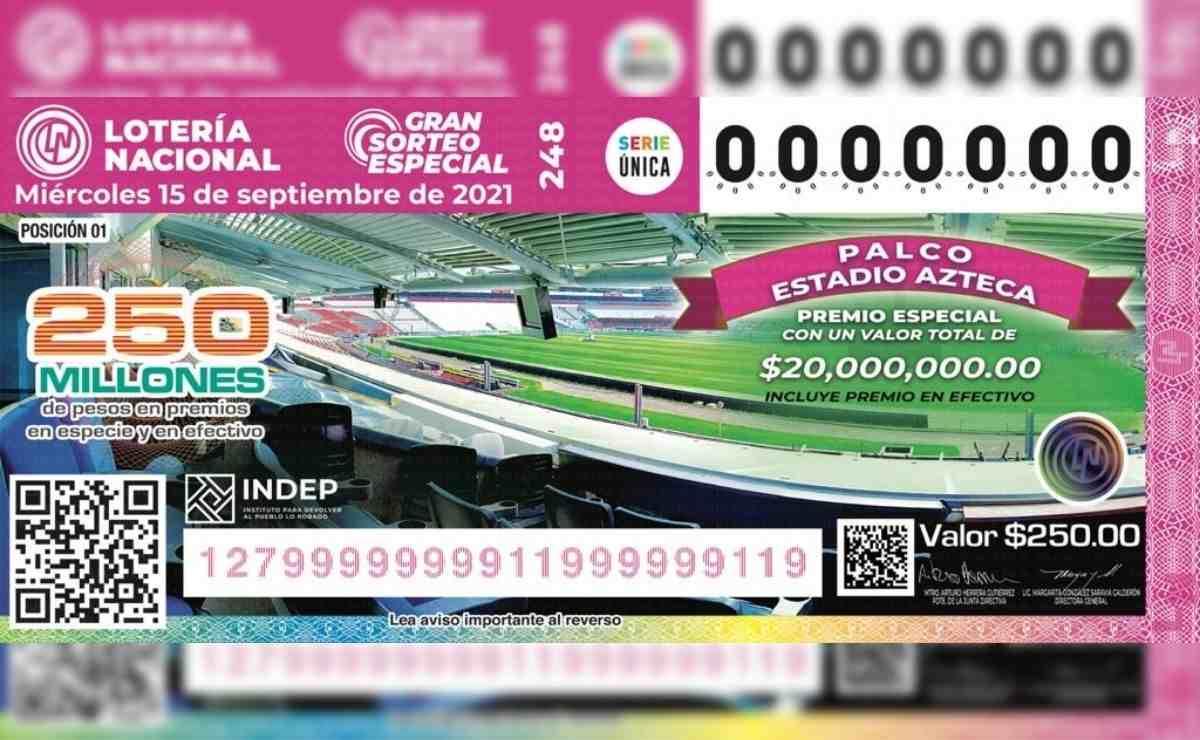Se pondrán a la venta un total de 250 millones de boletos para la rifa del palco en el Estadio Azteca con un valor de 250 pesos cada uno