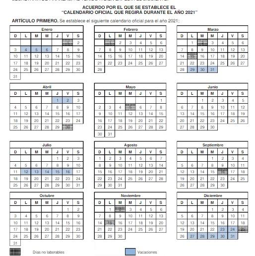 el calendario del gobierno edomex maraca dos periodos vacacionales para 2021