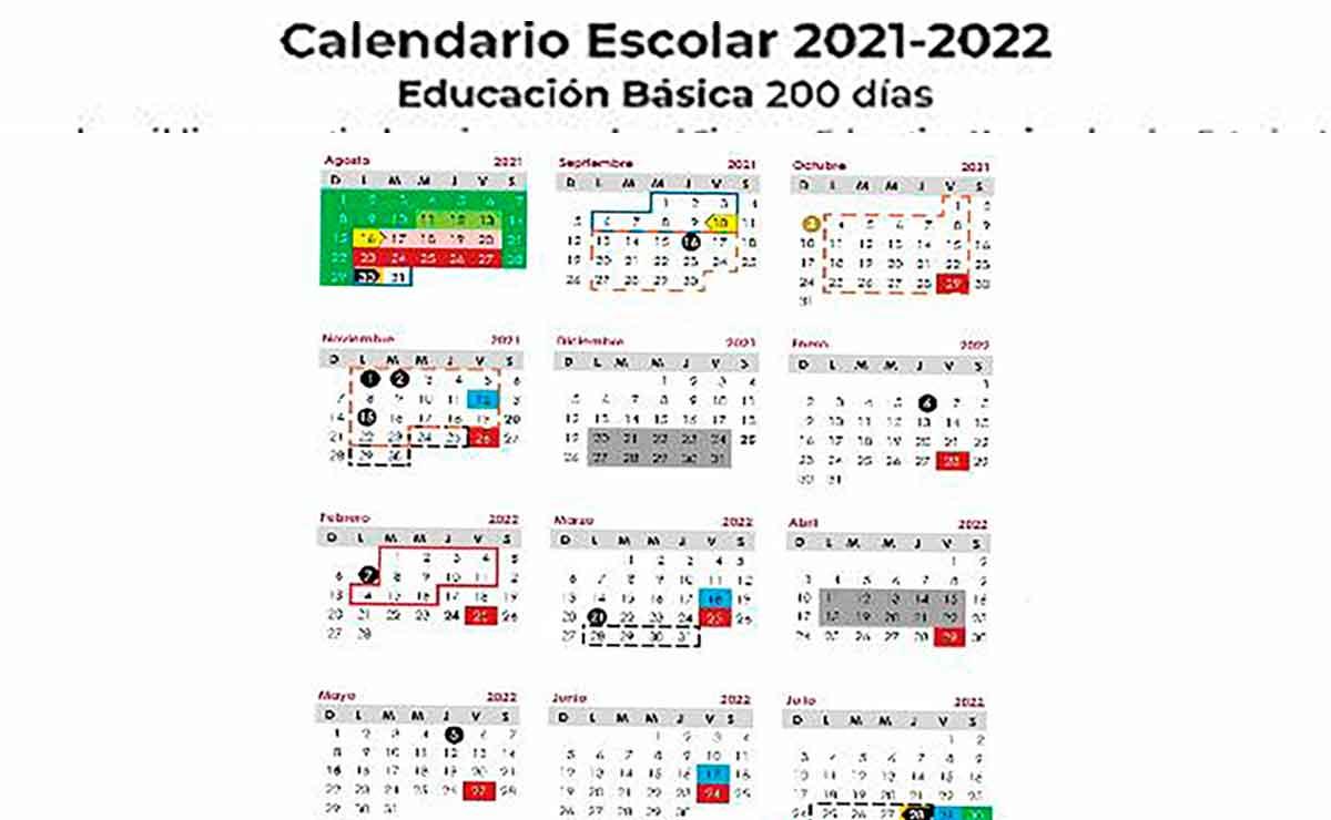 Calendario Escolar 2021 a 2022 SEP PDF para descargar e imprimir