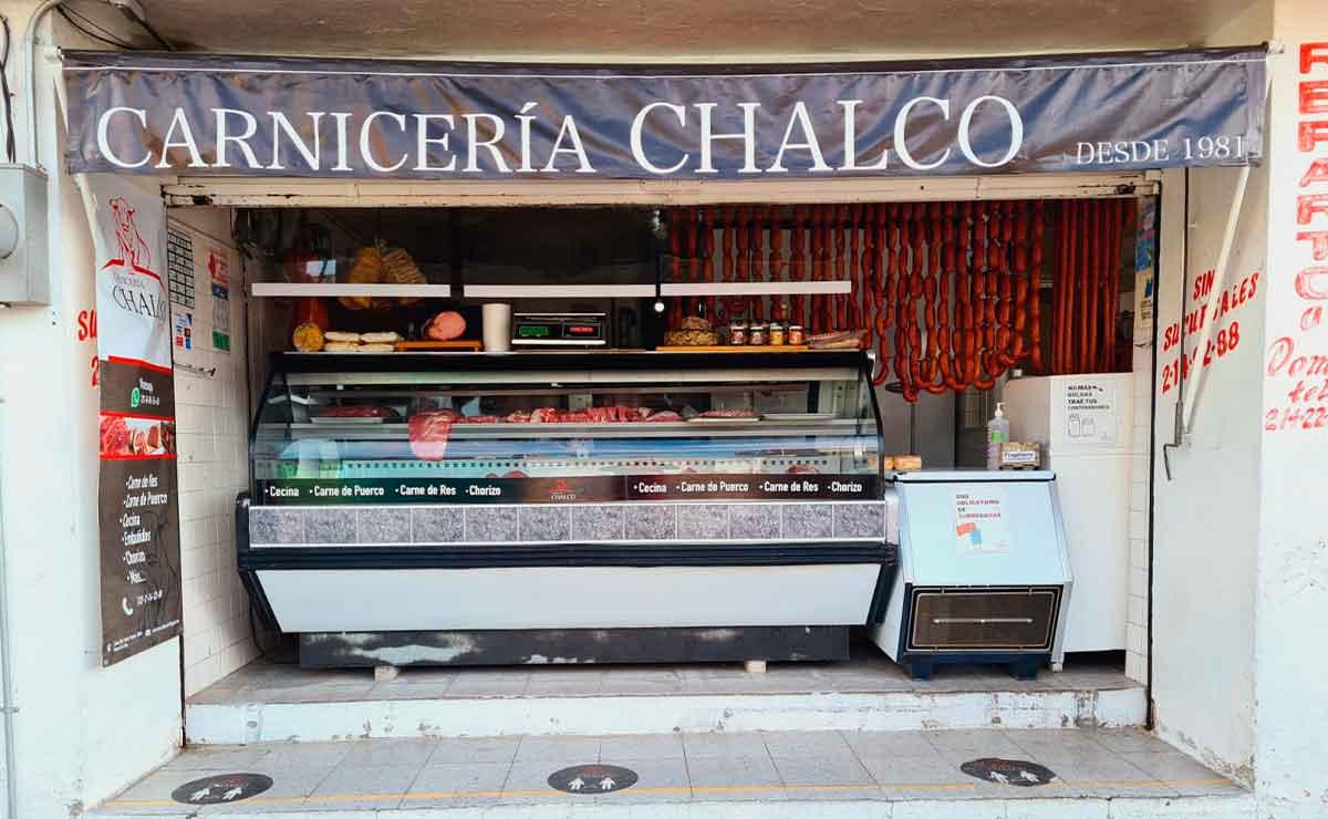 Fachada de la Carnicería Chalco ubicada en Toluca.