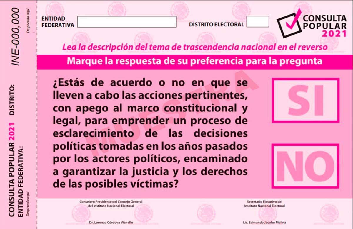 Circulan carteles en redes sociales para promover la consulta popular sobre el juicio a 5 expresidentes