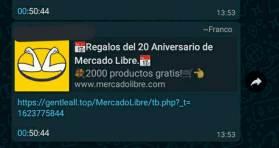 Mercado Libre informa de mensaje engañoso que circula en WhatsApp
