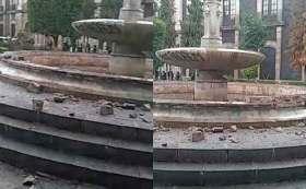 Feministas destruyen fuentes en Toluca.