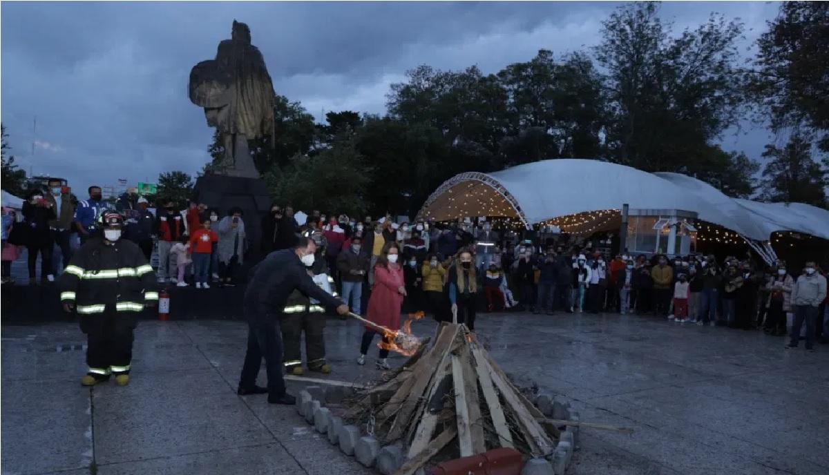 ya se prendio la fogata por los 500 años de Toluca