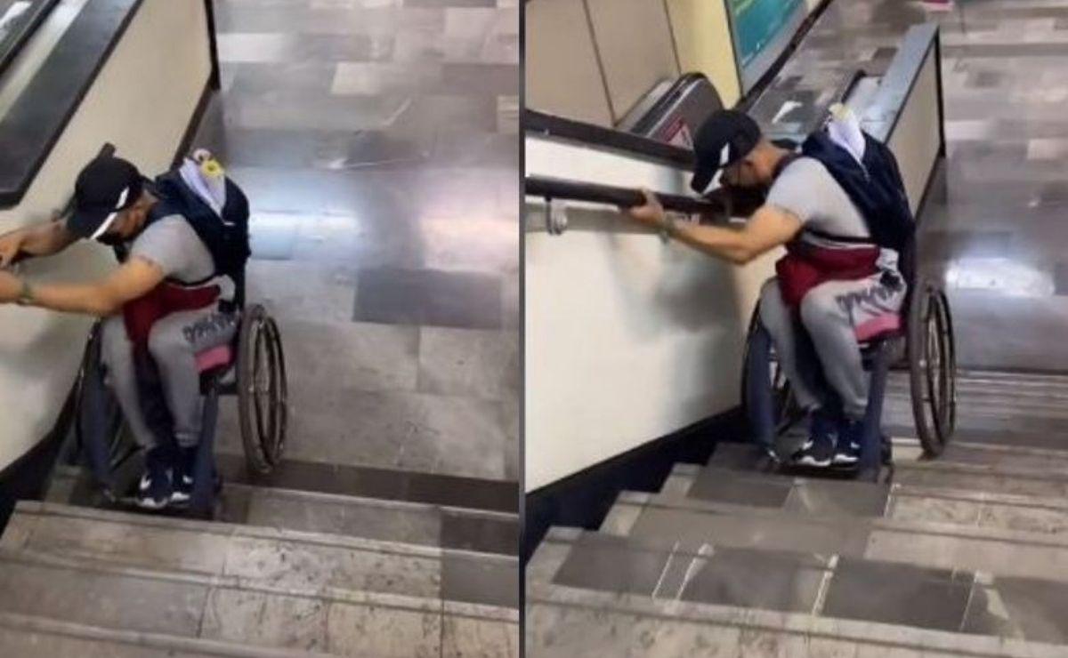 En las imágenes se observa como el joven en silla de ruedas se coloca de espaladas y con ayuda de sus manos comienza a descender de reversa por la escalinata.