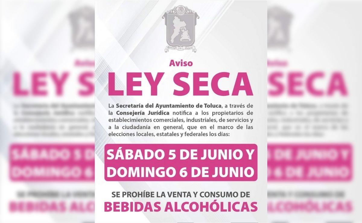 Habrá ley seca en Toluca por las elecciones del 6 de junio