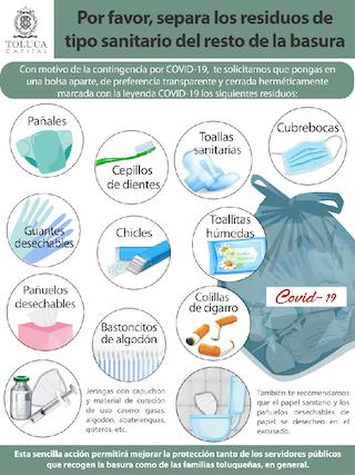 conoce las reglas para desechar los residuos de los pacientes covid en Toluca