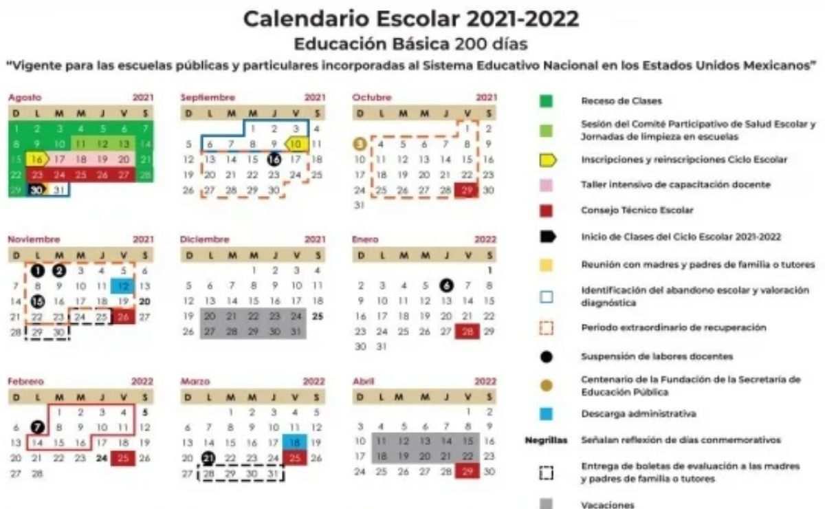 De acuerdo con el nuevo calendario, las clases iniciarán el próximo 30 de agosto de 2021 y finalizará el 28 de julio de 2022