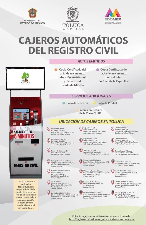 direccion de los cajeros automáticos del registro civil en toluca para tramitar acta de nacimiento