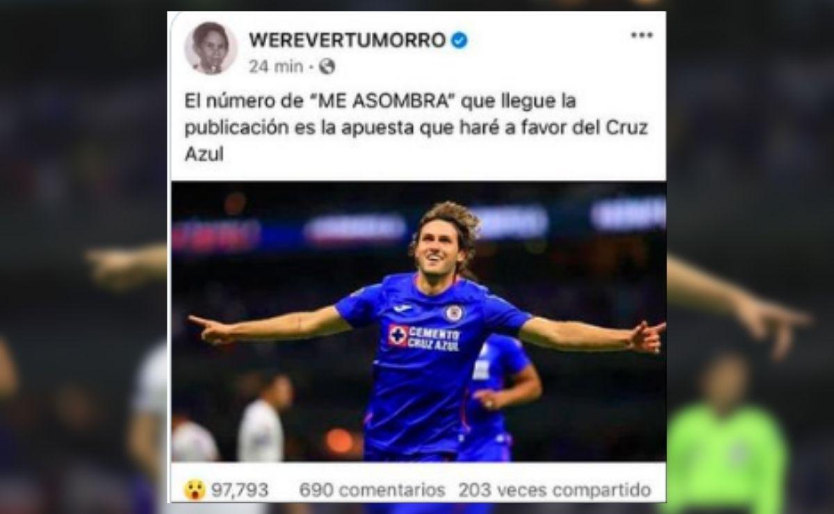 """A través de una publicación en Facebook, el Werevertumorro compartió una foto del futbolista Santiago Gimenez, donde señaló que cada """"me asombra"""" sería un peso para apostarle al Cruz Azul."""