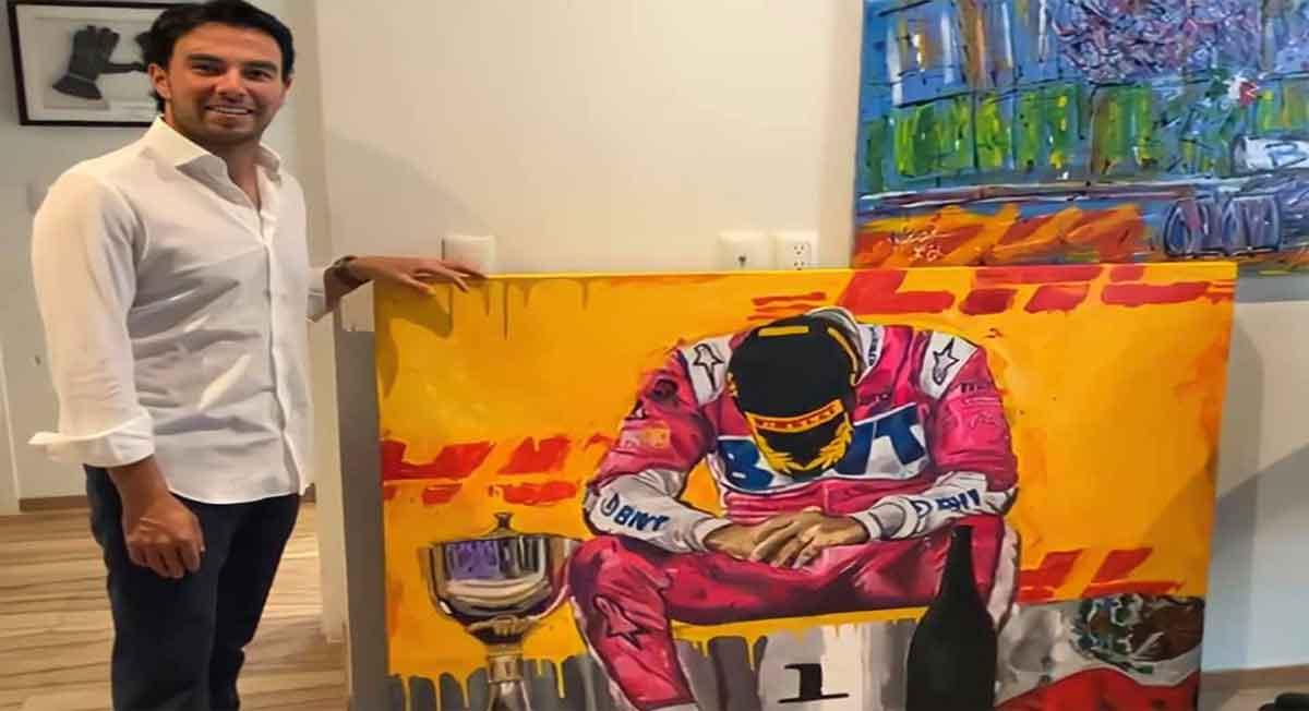 checo pérez recibe pintura de fanática que se hizo viral al pintarlo