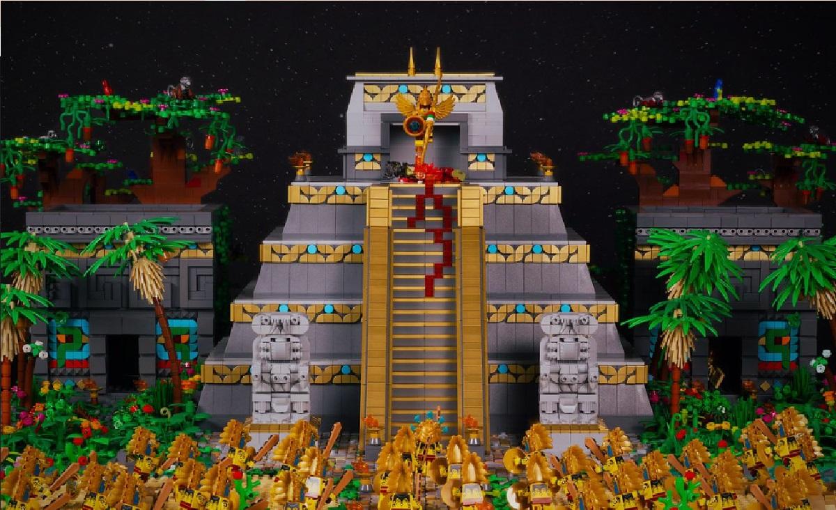 piramide de mexico de lego con Huitzilopochtli
