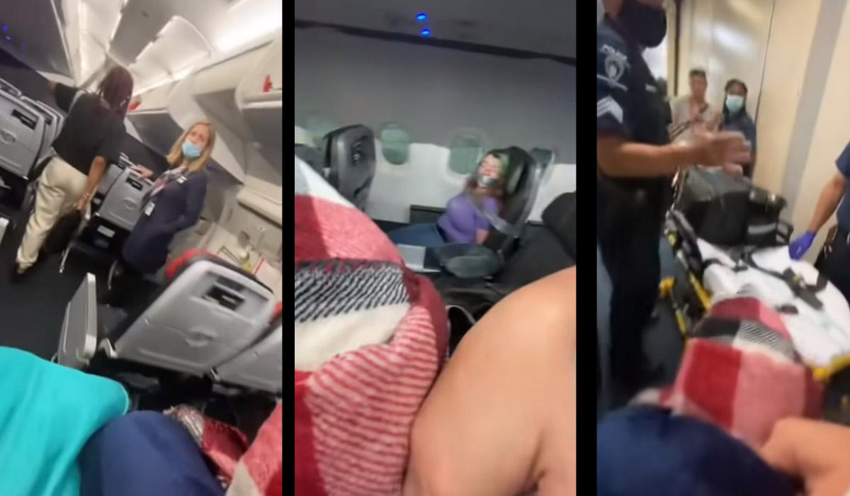 Una mujer quería abrir la puerta del avión en mero vuelo y la amarraron