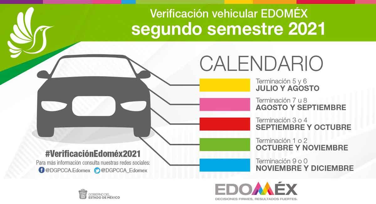 verificación estado de méxico 2021 y el calendario del segundo semestre