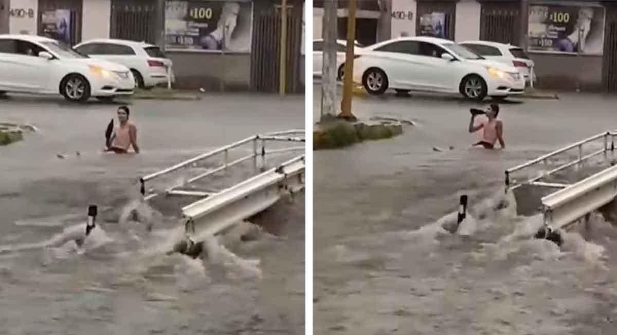 ciliacan sinaloa noticias video viral de joven tomando cerveza en inundacion