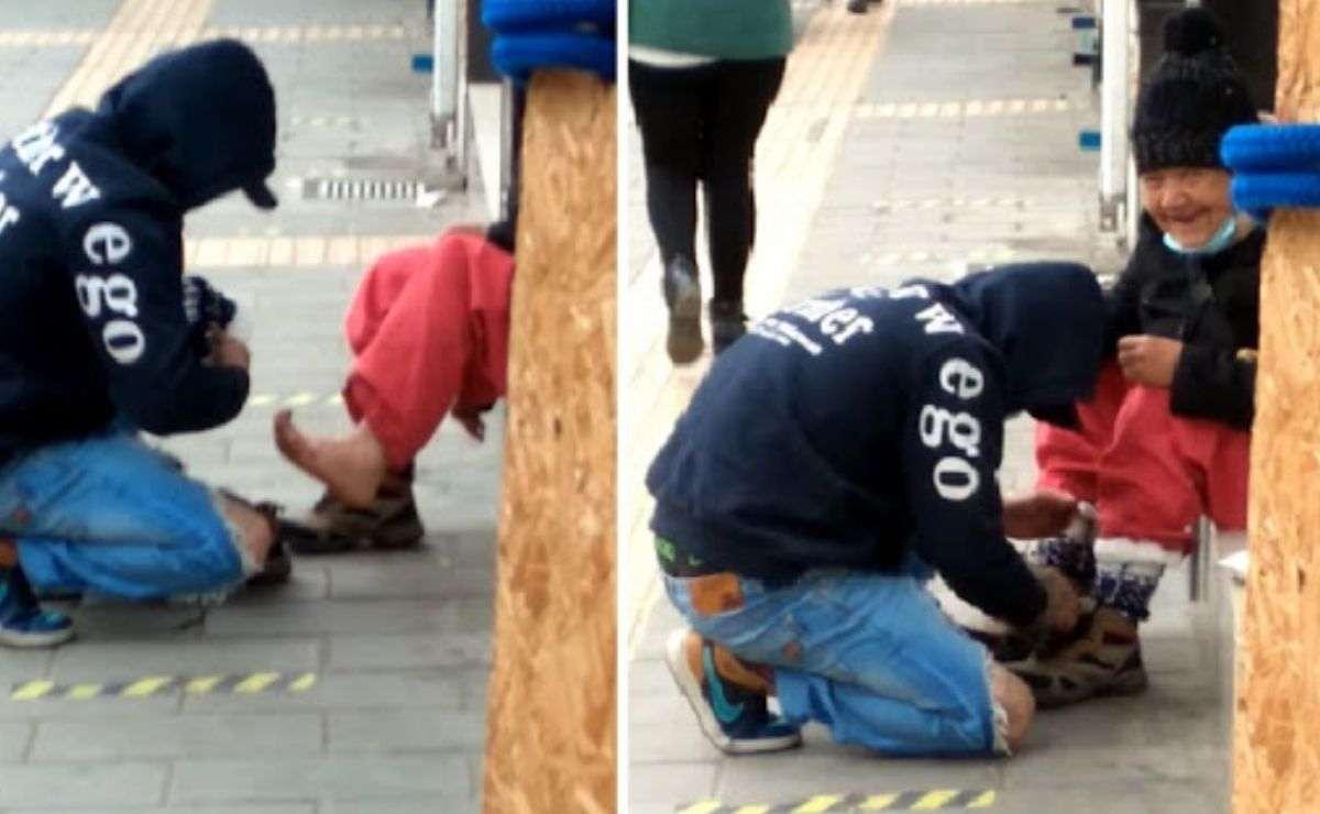 Un joven le regaló un par de calcetines a una abuelita que se encontraba en condición de calle