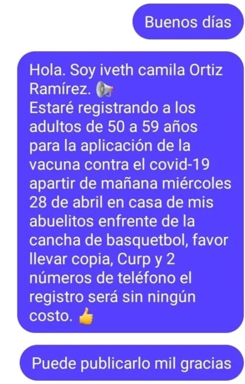 Iveth Camila ayudó a más de 500 personas a realizar el registro para recibir la vacuna