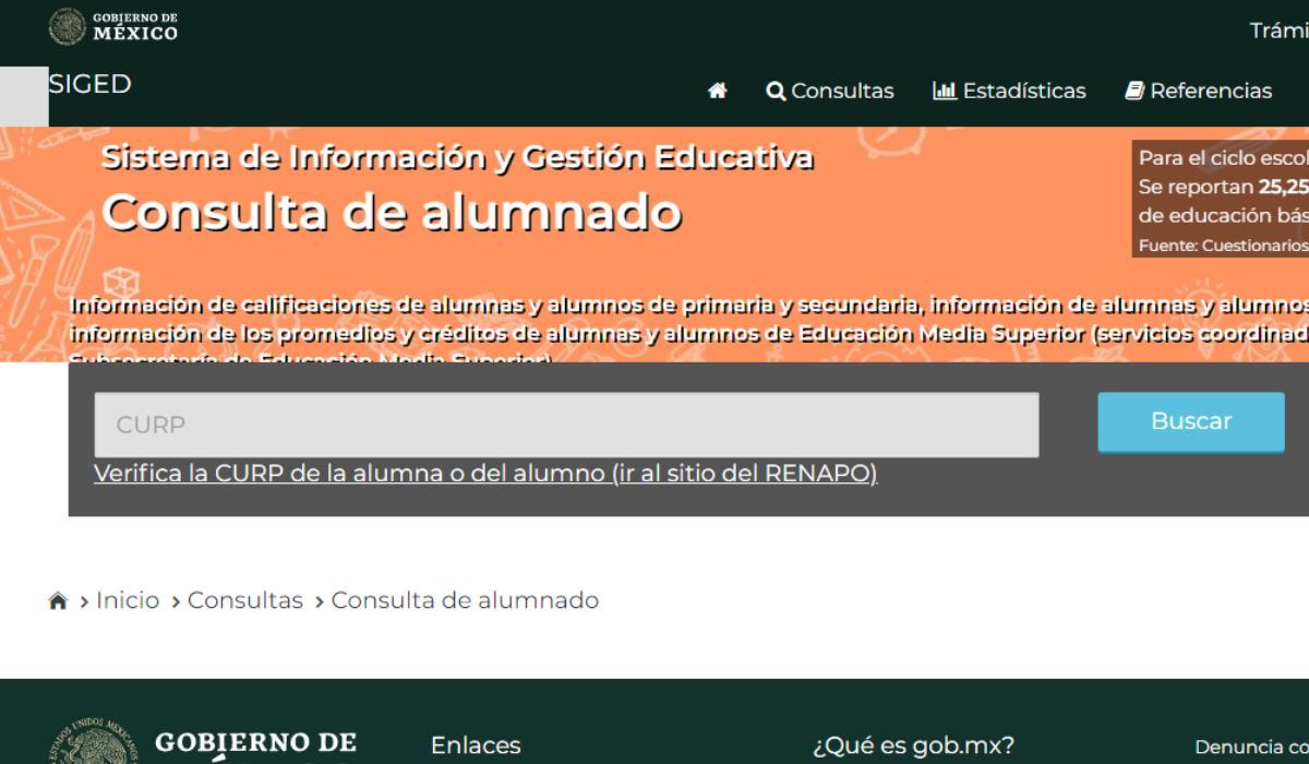 Portal del SIGED para realizar consulta de boleta de calificaciones