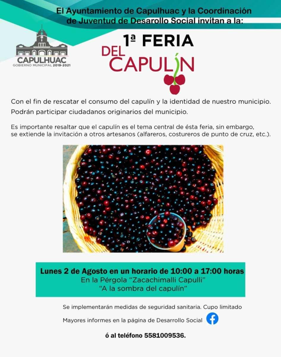 Primera feria del capulín llega a Capulhuac este próximo 2 de agosto