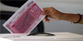 casilla para votar en la consulta popular 2021 en México