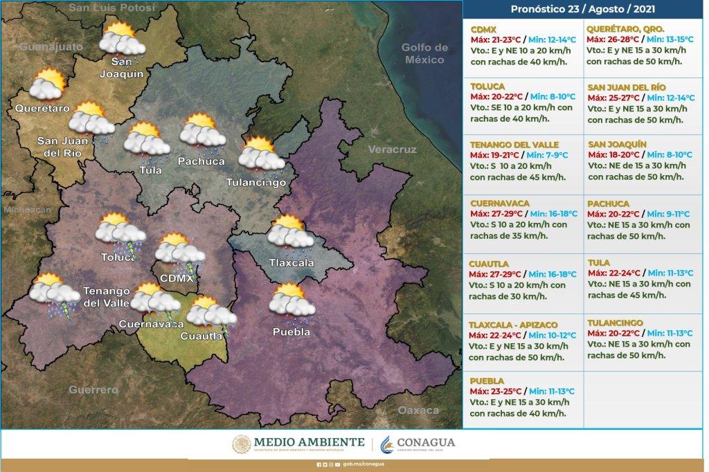 clima en toluca estado de mexico y ciudad de mexico para hoy 23 de agosto