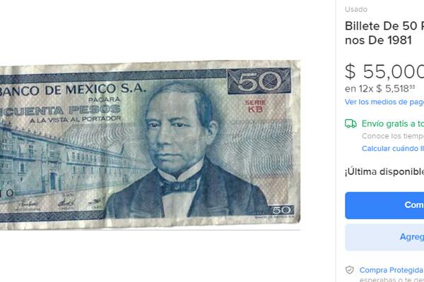 Bille de 50 pesos que puede llegar a valer hasta 55 mil pesos