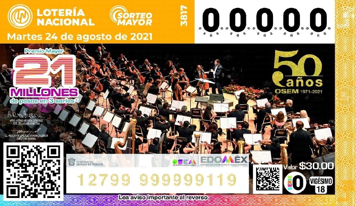 La OSEM celebra 50 aniversario con edición en la Lotería Nacional