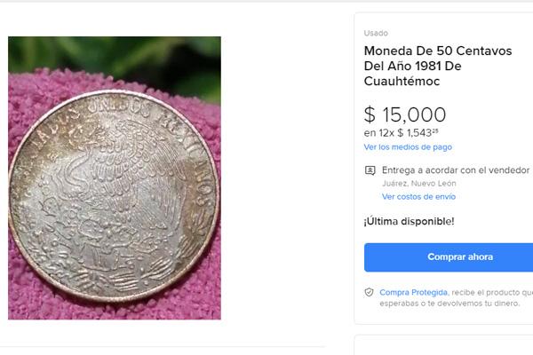 Monedas de 50 centavos se venden en casi 40 mil pesos, ¿tienes alguna?